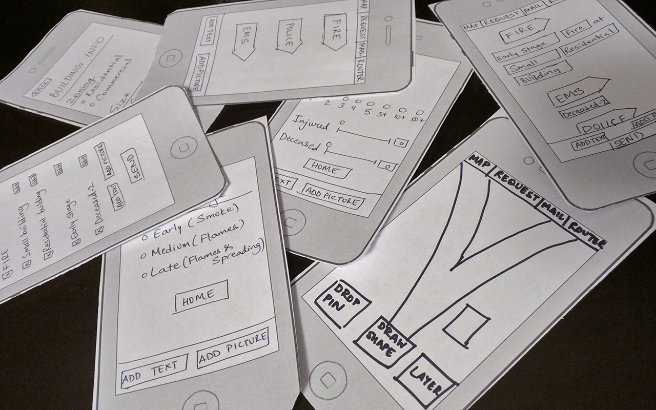 The paper prototype created to carry out user testing with first responders